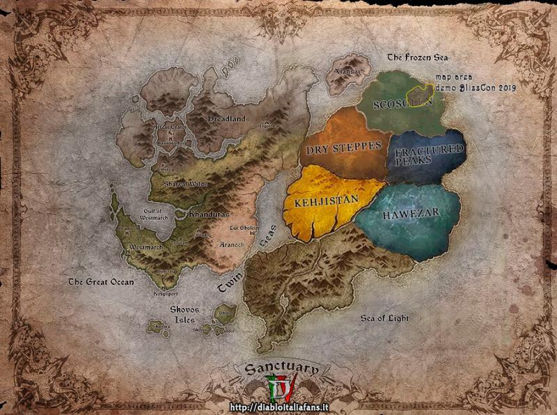 Sanctuary, mappa del mondo e dettagli della dimensione della mappa mostrata durante la demo della BlizzCon 2019
