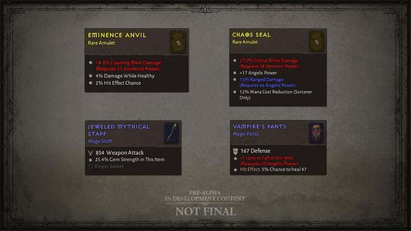 Diablo 4 Giugno 2020 - Ecco diversi oggetti dei test di gioco che utilizzano un nuovo sistema di attributi. Ricorda che le icone degli oggetti non sono definitive.