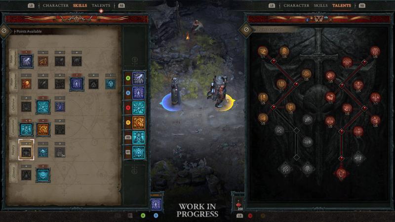 Diablo4 anteprima gestione abilità e talenti mediante controller