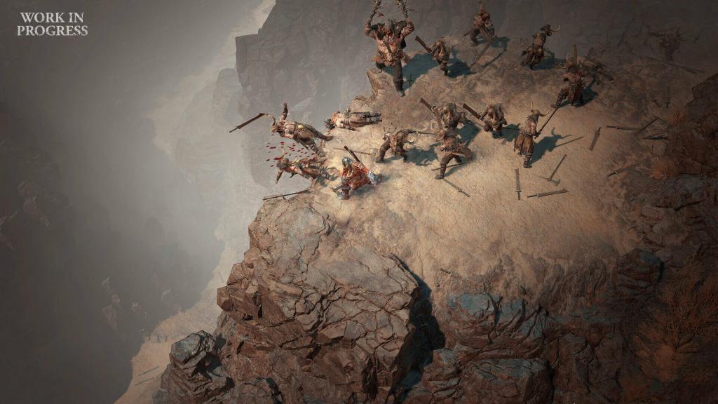 Diablo4 il barbaro combatte contro dei cannibali