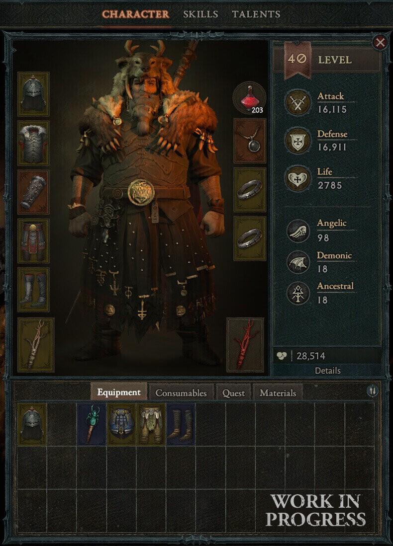 Diablo 4 inventario post Blizzcon