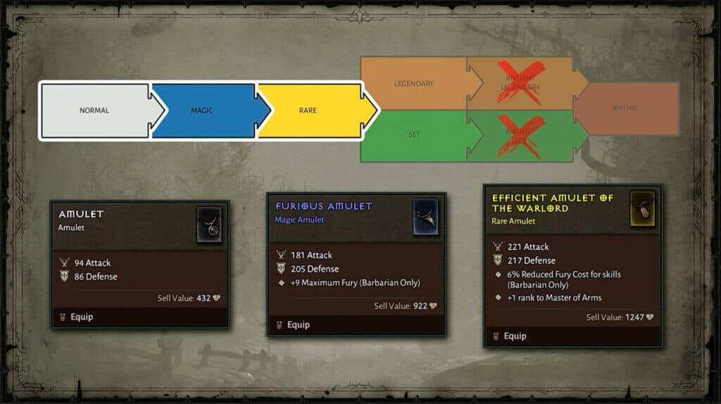 Diablo 4 oggetti comuni, magici e rari