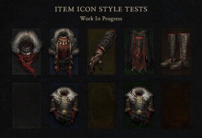 Diablo 4 stile icone oggetti inventario