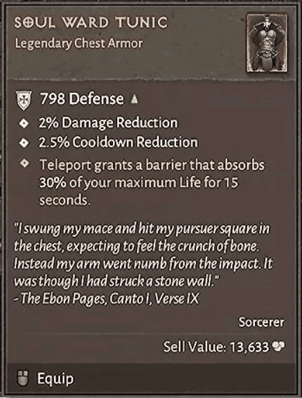 Diablo 4 Oggetto Leggendario Soul Ward Tunic