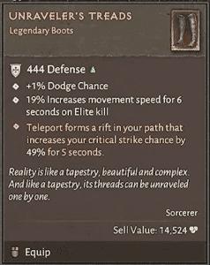 Diablo 4 oggetto leggendario Unraveler's Treads