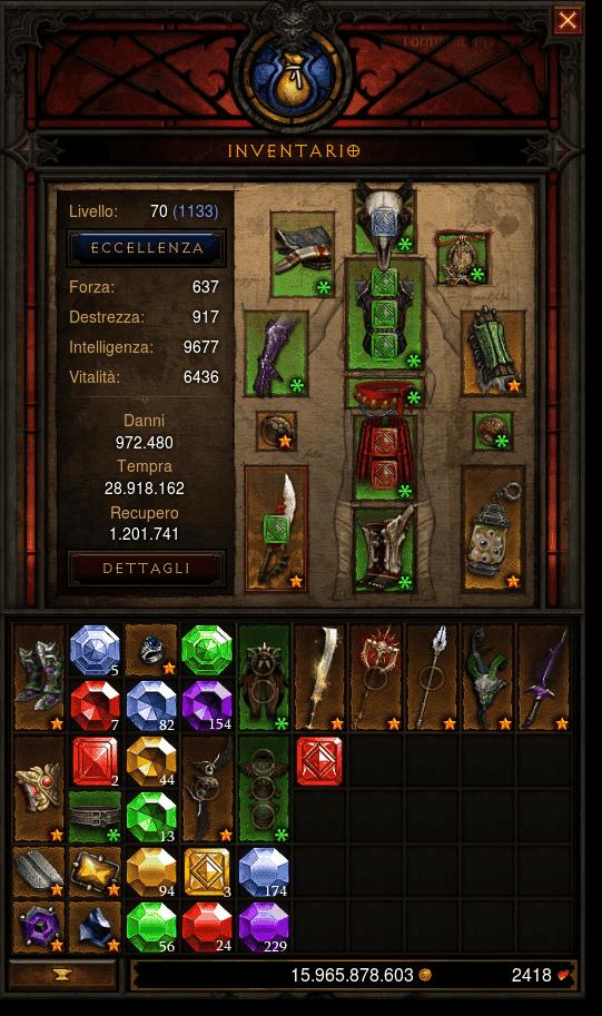 L'inventario di Diablo 3, dettaglio