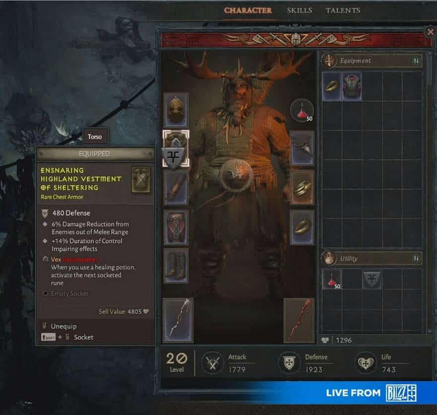 Diablo 4 Inventario Blizzcon 2019