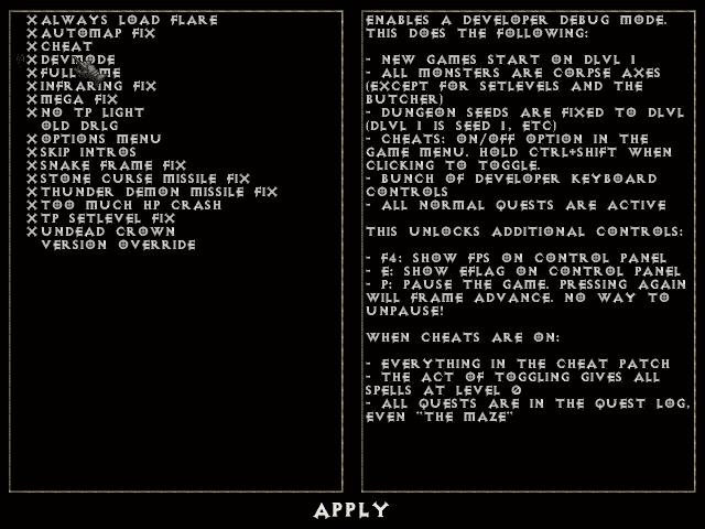 PRE ABLO option menu