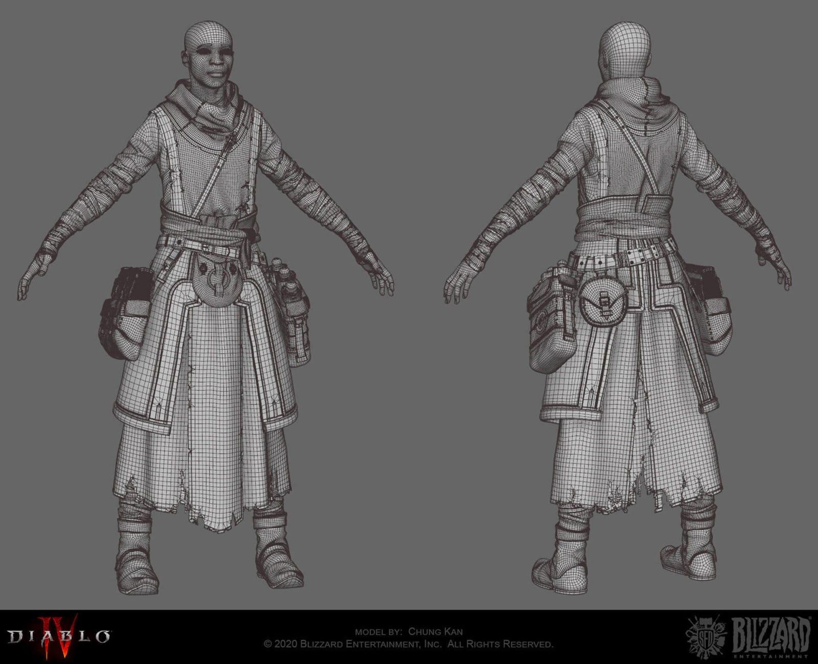 In tre discendono monaco modellazione di Ching Kan