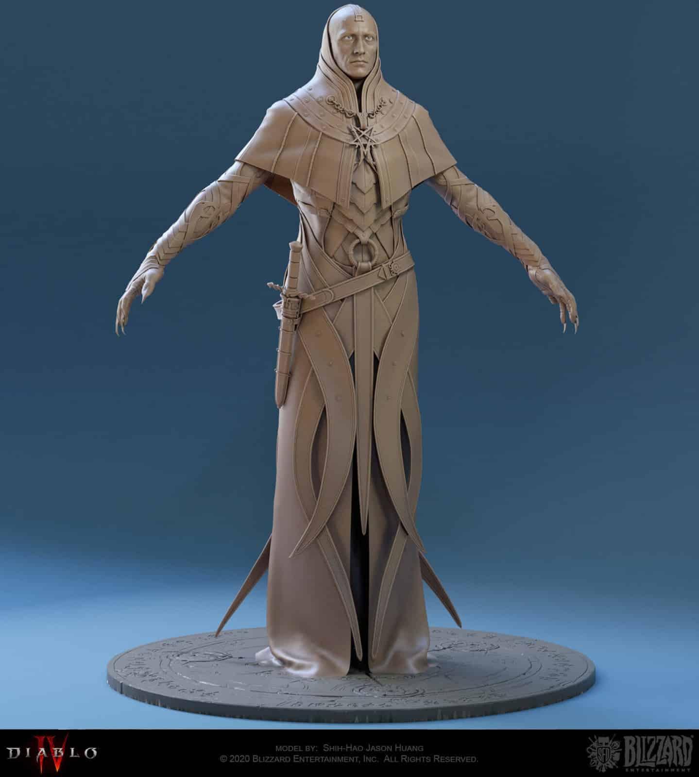 In tre discendono uomo incapucciato Diablo 4 personaggio intero fronte