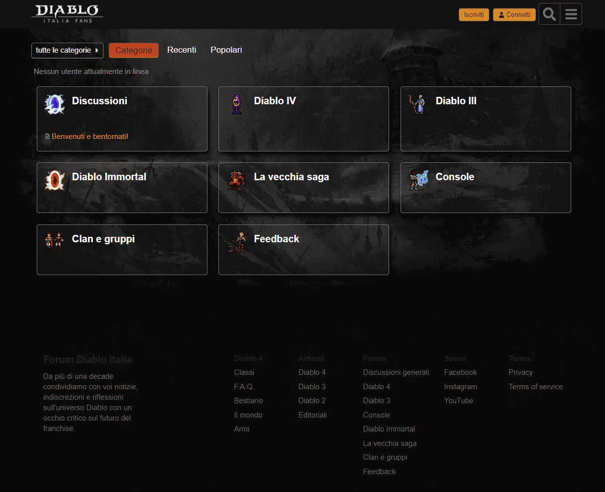 schermata iniziale forum diablo italia fans
