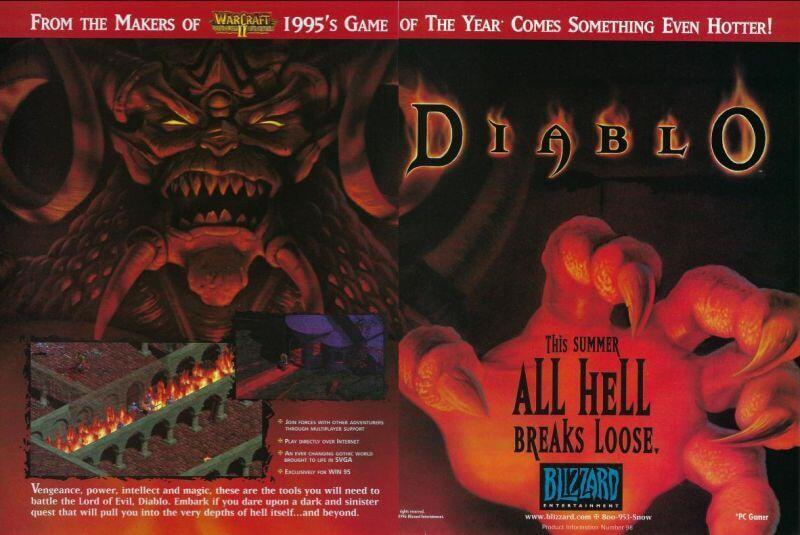 Official Magazine Advertisement Diablo: PC Gamer Vol.3 No.6 June 1996 Advert