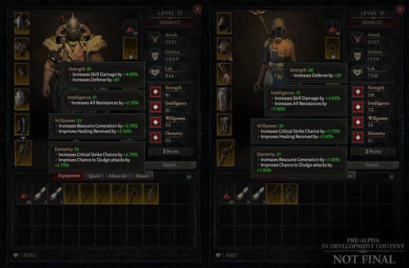 Diablo IV Aggiornamento trimestrale dicembre 2020 - assegnazione punti caratteristica