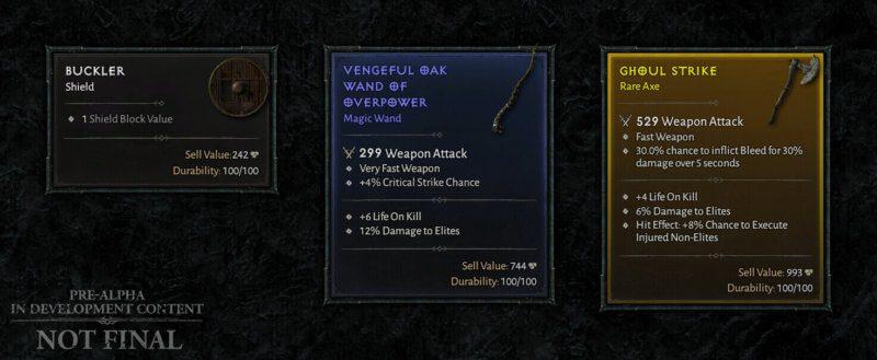 Diablo IV Aggiornamento trimestrale dicembre 2020 - oggetti scudo bacchetta e ascia