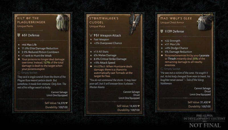 Diablo IV Aggiornamento trimestrale dicembre 2020 - oggetti unici