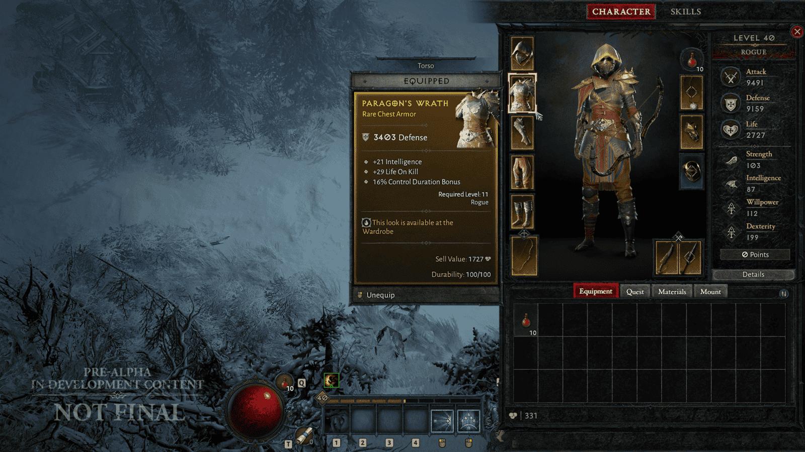 Diablo IV Tagliagole Rogue scheda personaggio inventario