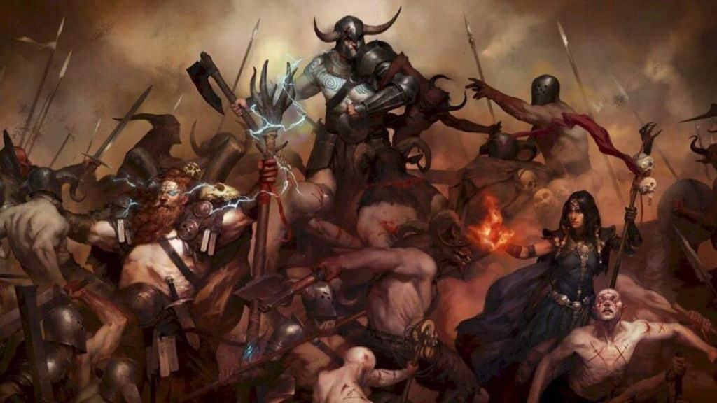 Diablo IV - Guerriero, Druido e Incantatrice in combattimento