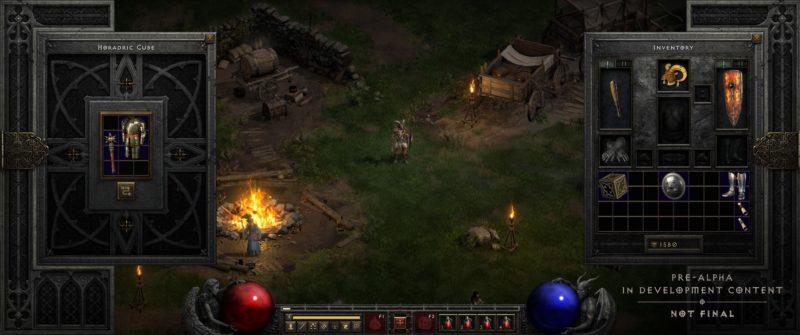 Diablo 2: Resurrected inventario e cubo