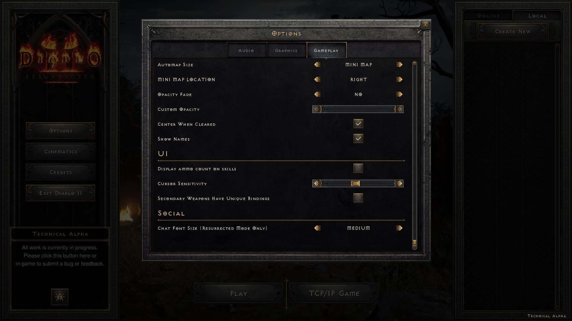 Diablo 2: Resurrected - Impostazioni di gioco